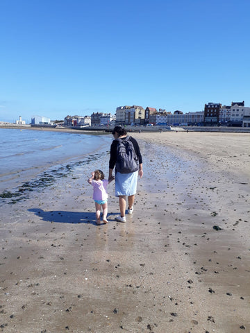 Elin and I strolling on the beach
