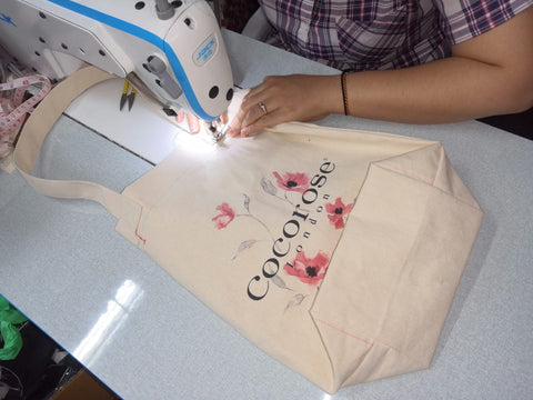 Stitching our canvas shopping bags