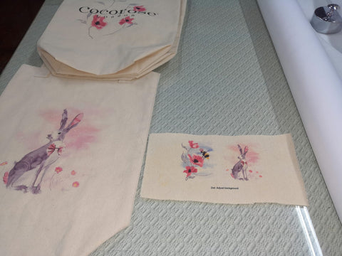 Lots of printed samples before making our canvas shopping bags