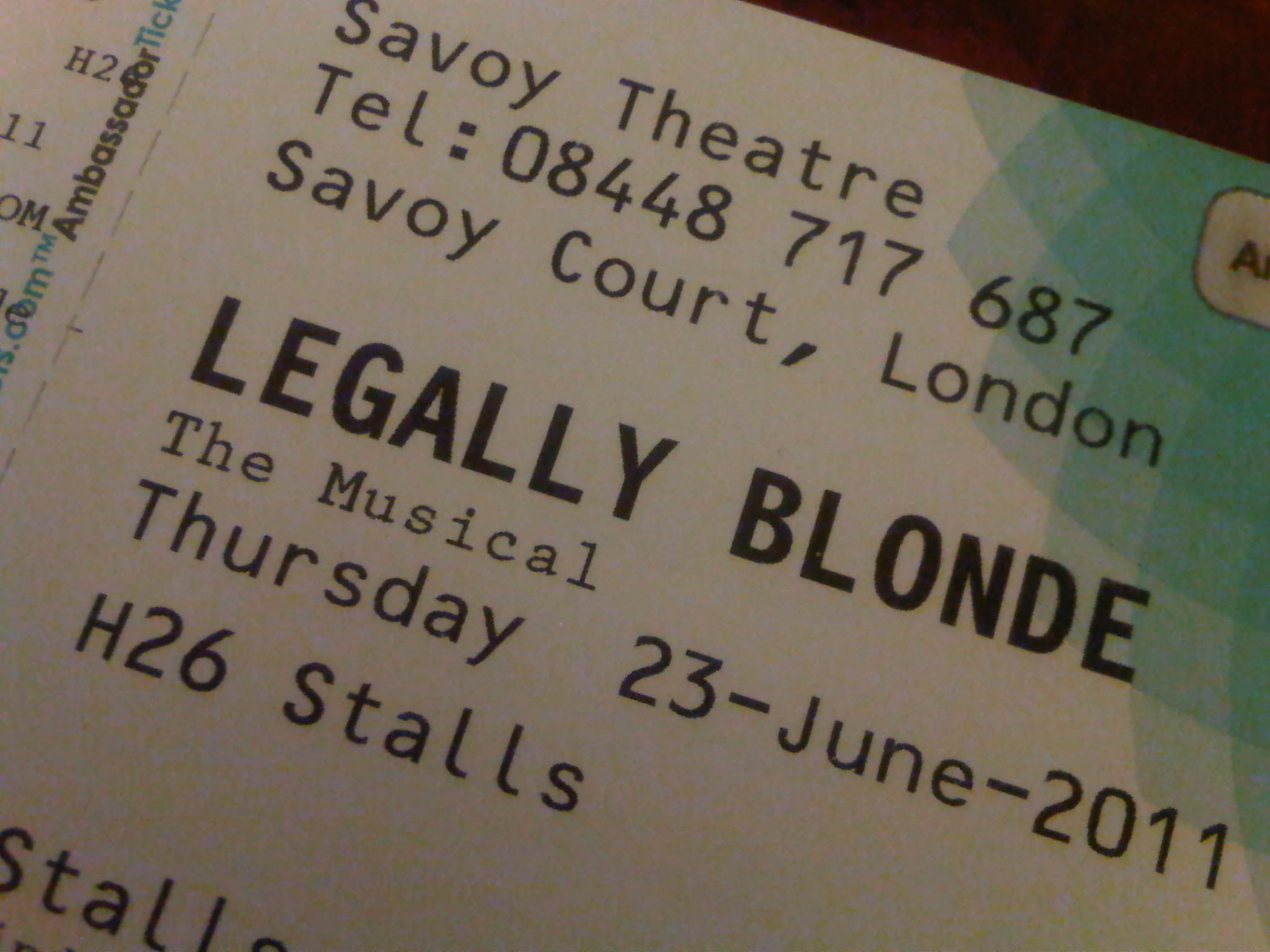 Janan's Ticket Stub for Legally Blonde The Musical
