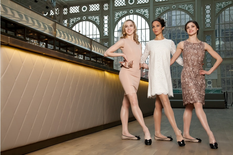 First Artist dancers of The Royal Ballet, Nathalie Harrison, Tara-Brigitte Bhavnani, Romany Pajdak, modelling Cocorose London's Aurora foldable shoes in the Paul Hamlyn Hall at the Royal Opera House in Covent Garden, London