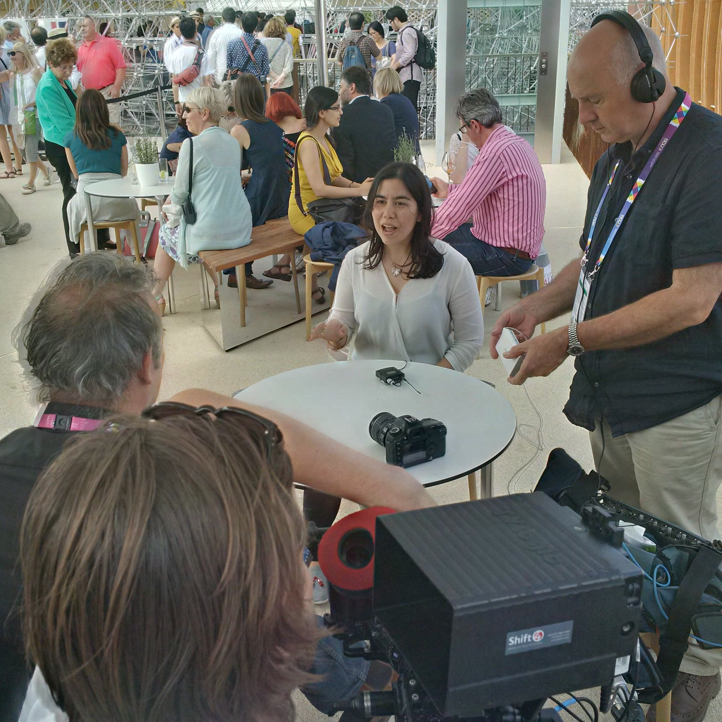 Janan being interviewed about her views on entrepreneurship today, at the Milan Expo 2015