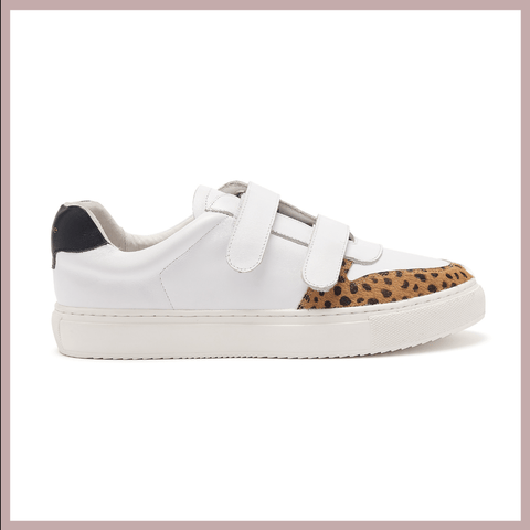 Women's Designer Trainers - classic white leather trainer with velcro straps, back heel tab and a little bit of leopard print