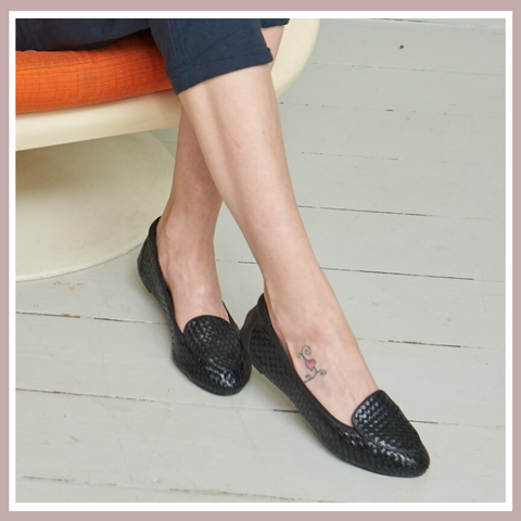 Clapham Black | Versatile, Stylish and Comfortable Woven Leather Flats | Foldable Shoes
