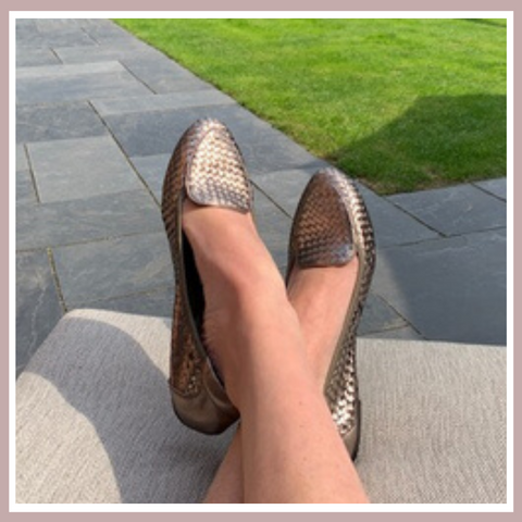 Zella wearing her Clapham Pewter Cocorose Shoes | Foldable Leather Loafers