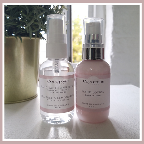 Cocorose Out & About Kit with Lemongrass & Tea Tree Hand Sanitising Spray and Damask Hand Lotion