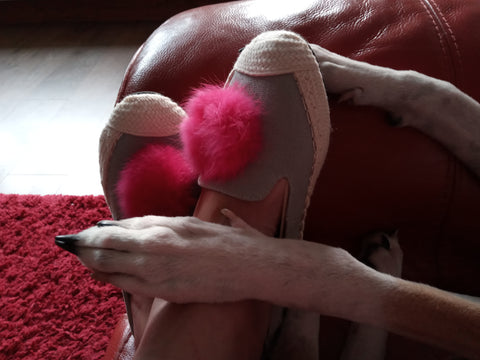 Put a paw on it | Jacqui's Happy Shoes | Carnaby Pink Pom Pom Foldable Shoes