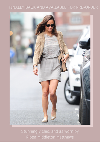 Pippa Middleton Matthews wears her Cocorose Putney Nude and Gold Leather Ballerinas