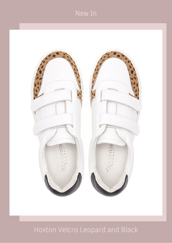 Double strapped velcro trainers in white leather with hints of black and leopard print