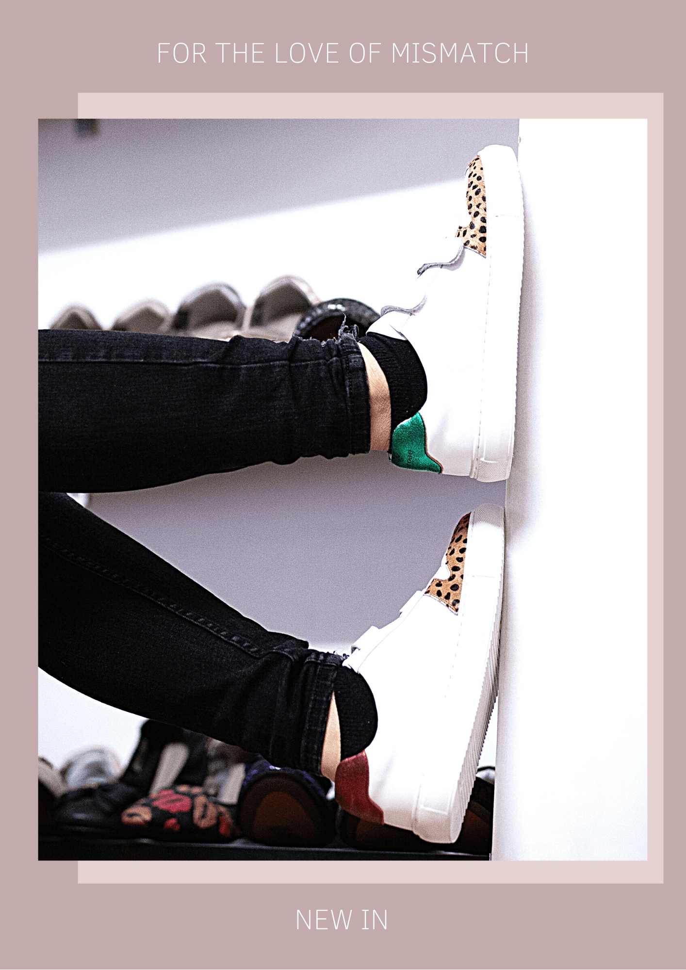 For the love of mismatch - metallic red and green backed trainers