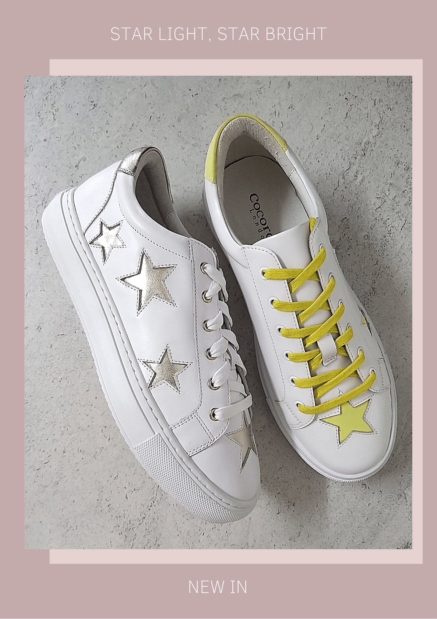 Star Light, Star Bright - star print trainers in white and gold and white and yellow leather
