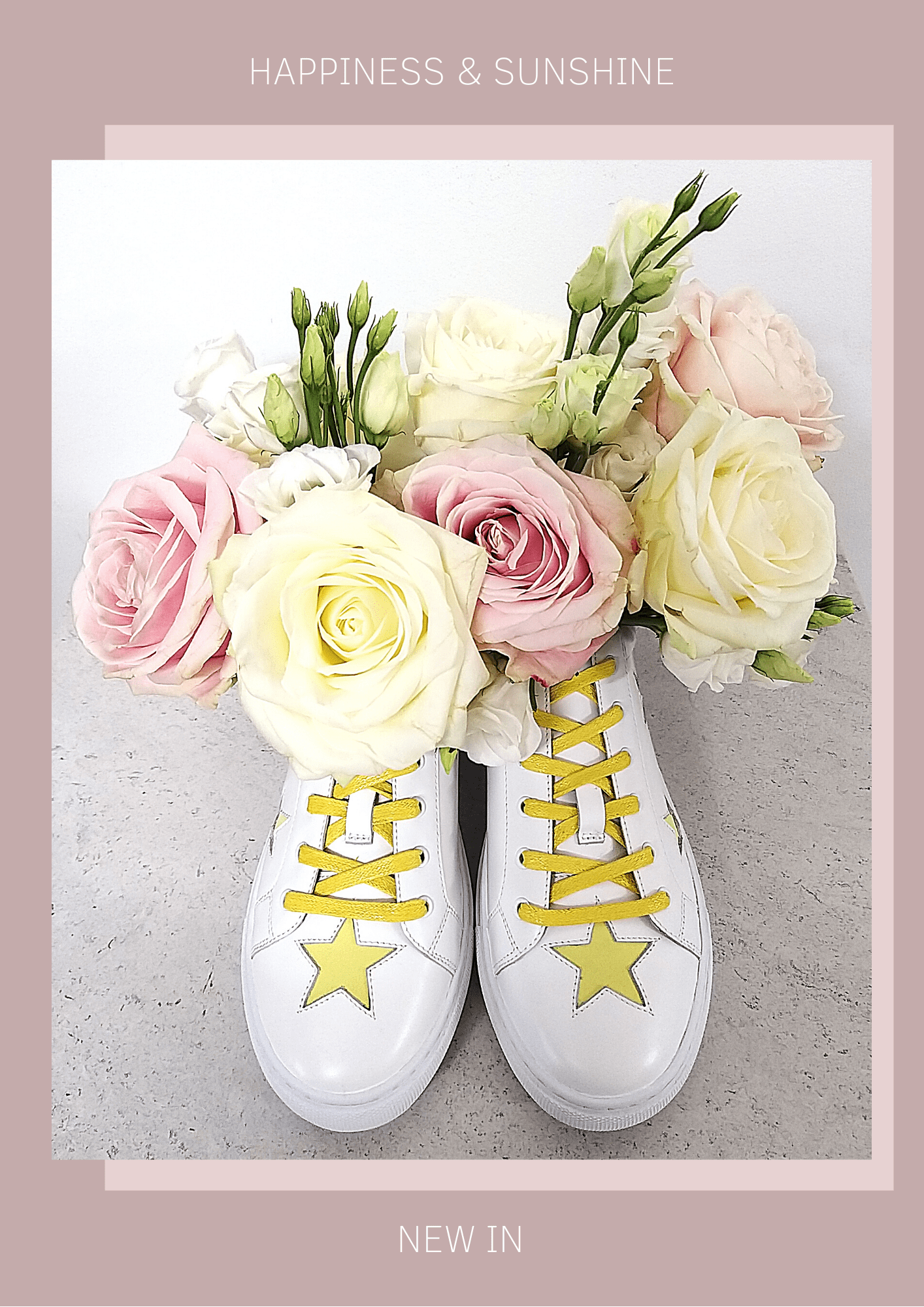 New In Hoxton Yellow Stars Trainers - sunshine and happiness for your feet