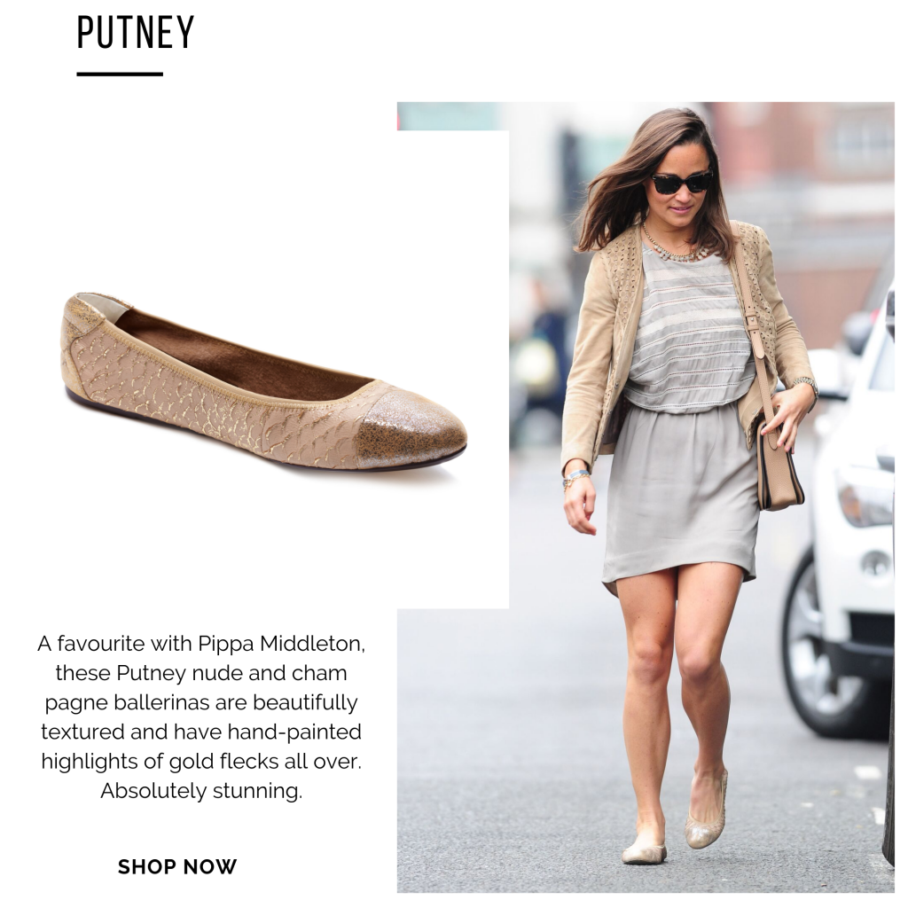 Cocorose London's Putney Champagne Gold Foldable Leather Ballet Flats Worn By Pippa Middleton