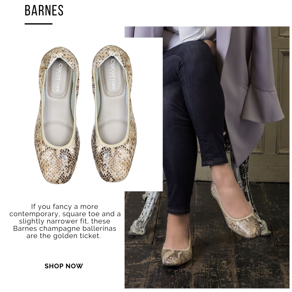 Cocorose London's Champagne Gold Snake Print Foldable Leather Ballet Flats with Square Toe