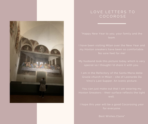 Claire in her comfortable Cocorose Hoxton trainers in the Refectory of the Santa Maria delle Grazie church in Milan admiring the Last Supper