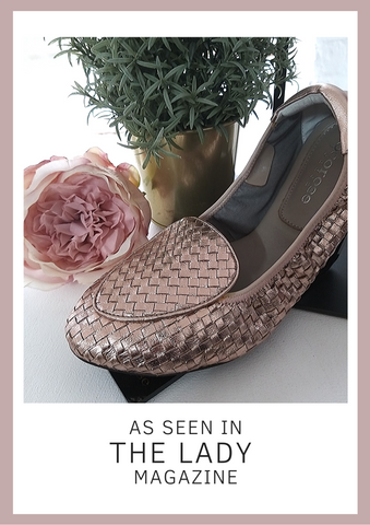 As Seen In The Lady Magazine | Cocorose Foldable Rose Gold Woven Leather Loafer