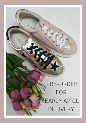 Super Popular Hoxton Trainers by Cocorose London | Pastel Pink and Gold Star Leather Trainers