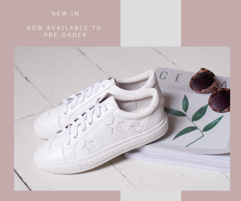 Hoxton White with White Star Leather Trainers | All-White Leather Trainers | Cocorose London