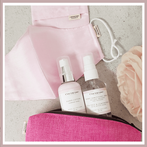 Out & About Kit - Face Mask, Hand Sanitising Spray and Hand Lotion all contained in a handy pouch - perfect gift for when restrictions start to ease