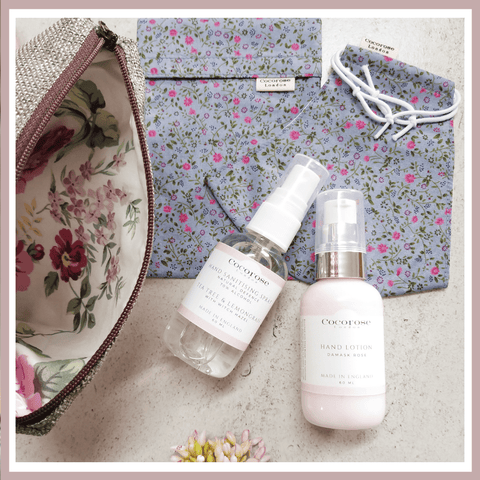 Out & About Kit - Hand Sanitising Spray, Damask Rose Hand Lotion, Face Mask and Pouch - Ideal Mother's Day Gift