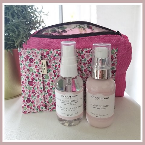 Cocorose Out & About Kit, with hand sanitiser spray, rose hand lotion, face covering of choice and zip pouch of choice