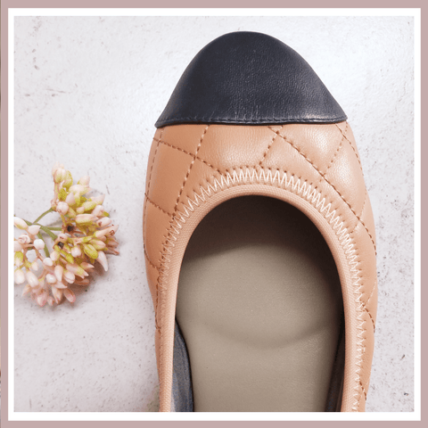 New In Piccadilly Tan Quilted Leather Ballerinas Soft and Comfortable