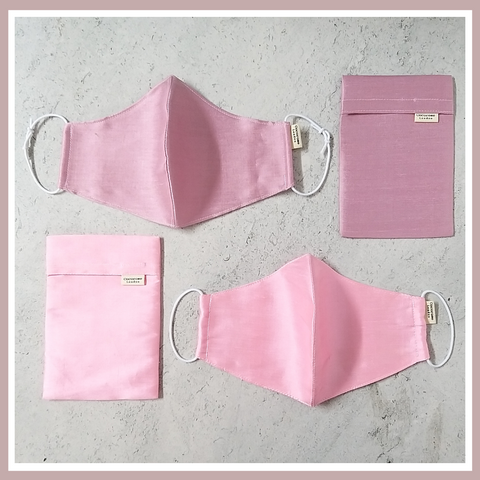 Beautiful, pink silk face masks with matching storage pouch from Cocorose London