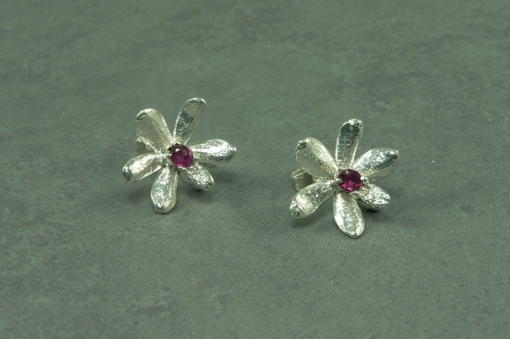 ROC's mini orchid and ruby earrings