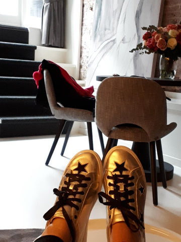 Cocorose London Hoxton Trainers | Gold Leather and Black Star Sneakers