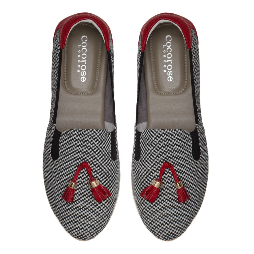 Shoreditch CR0576 Houndstooth with Tassels Birds-Eye