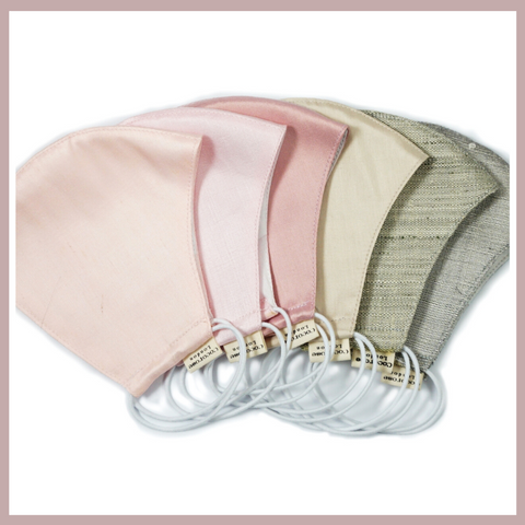 Beautifully made, quality face masks in cotton and silk with filter pockets and matching storage pouches