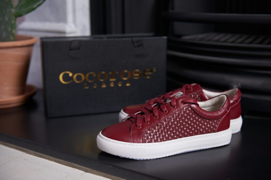 Cocorose London's comfy Hoxton trainer in woven burgundy leather