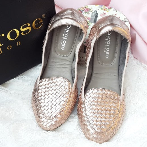 Cocorose Clapham Rose Gold Woven Leather Flats