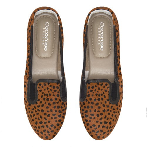 Cocorose London Shoreditch Leopard Print Pony Hair Foldable Loafers