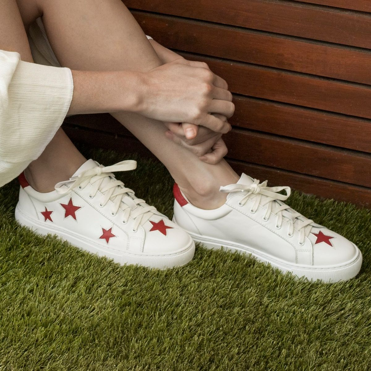 Cocorose London Hoxton White with Red Stars Leather Trainers