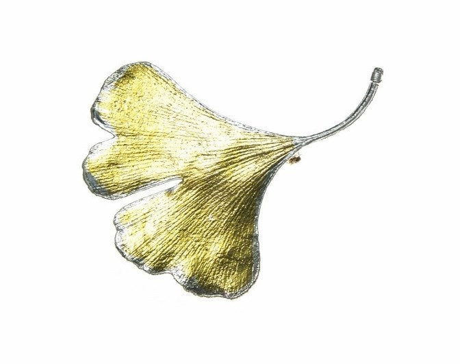 Real Gingko Leaf Brooch in Fine Silver and Gold
