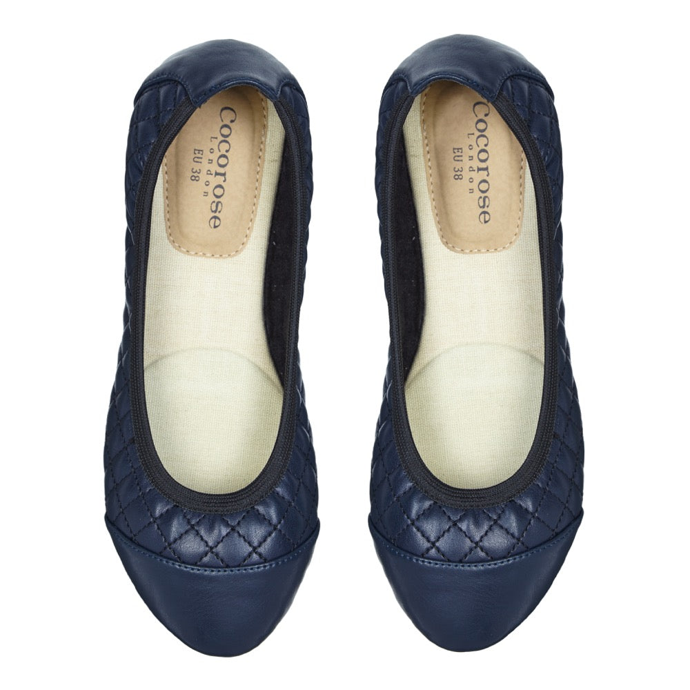 Cocorose London's Greenwich Style - Vegan Foldable Shoes in Navy Faux Leather