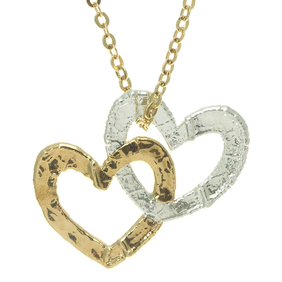 Mango Leaf Silver and Gold Double Heart Pendant