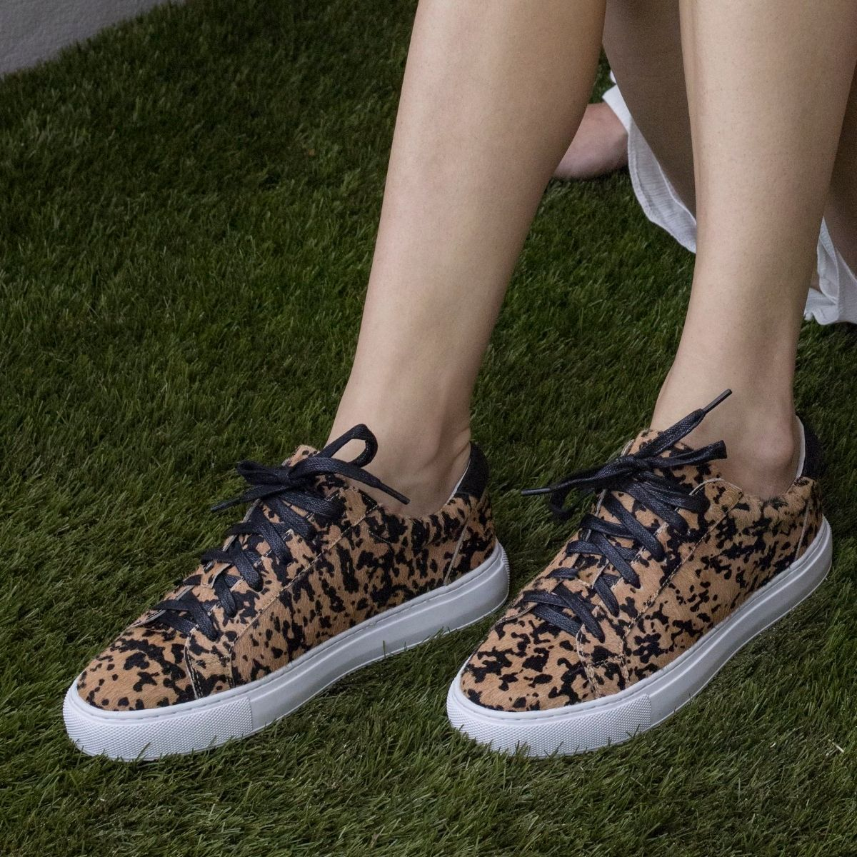 Cocorose Hoxton Trainers - Leopard Pony Hair Leather Trainers and Sneakers
