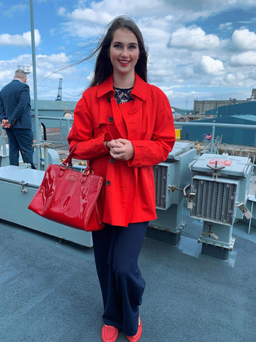 Invited on to HMS Forth in Stirling and wearing nautical Cocorose Clapham Coral