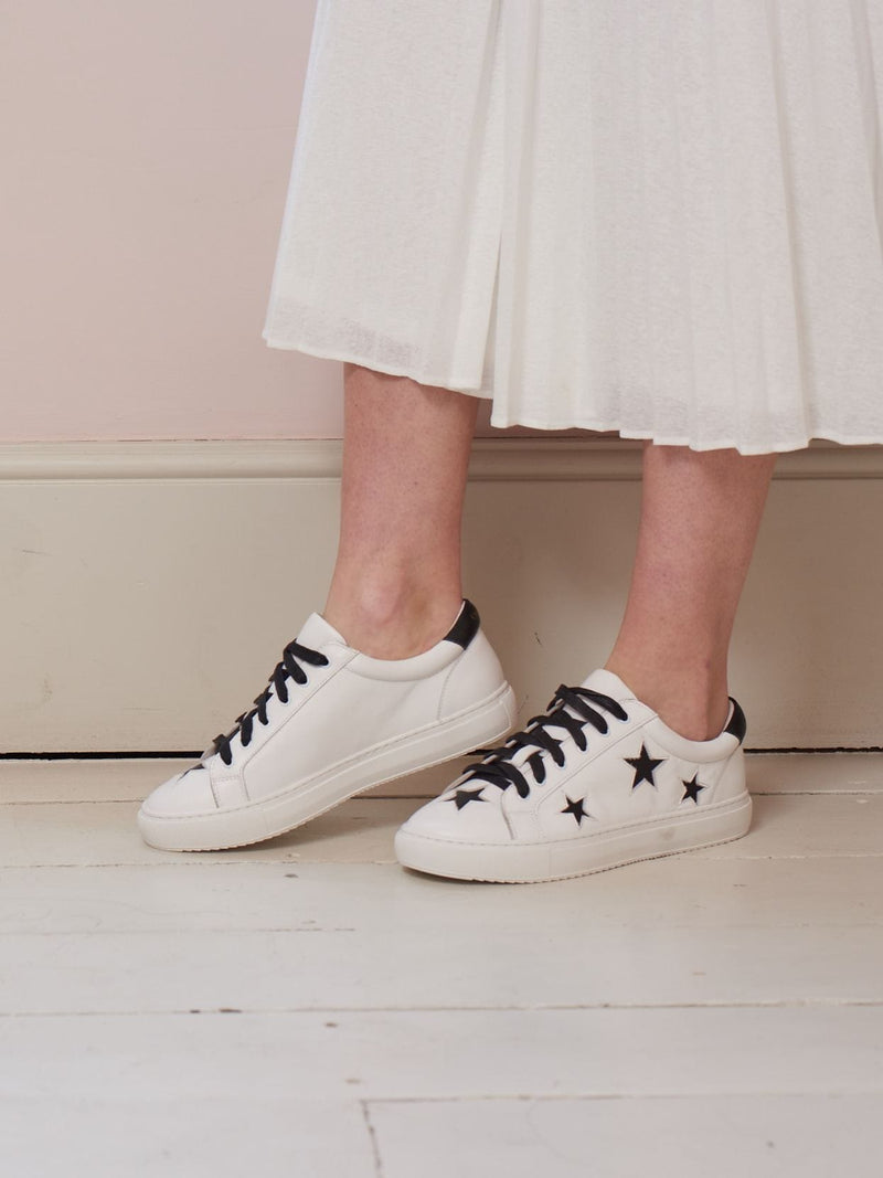 white leather trainers with stars | women's fashion sneakers that are comfortable