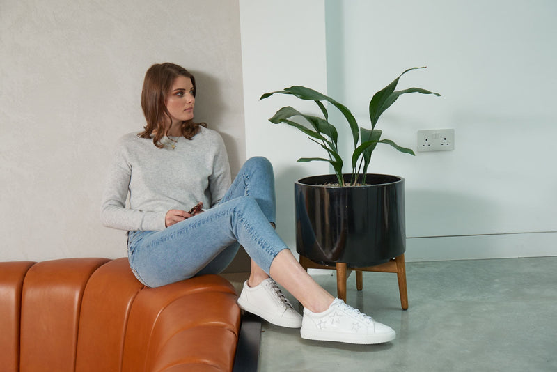 On trend and comfortable designer white trainers