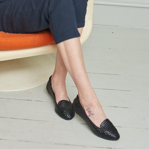 Clapham - Black Woven Leather Loafers