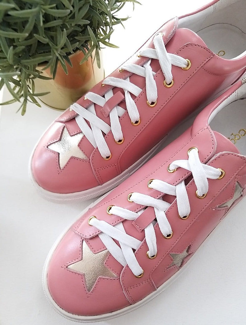 Comfy and stylish women's designer trainers | pink and gold leather star trainers