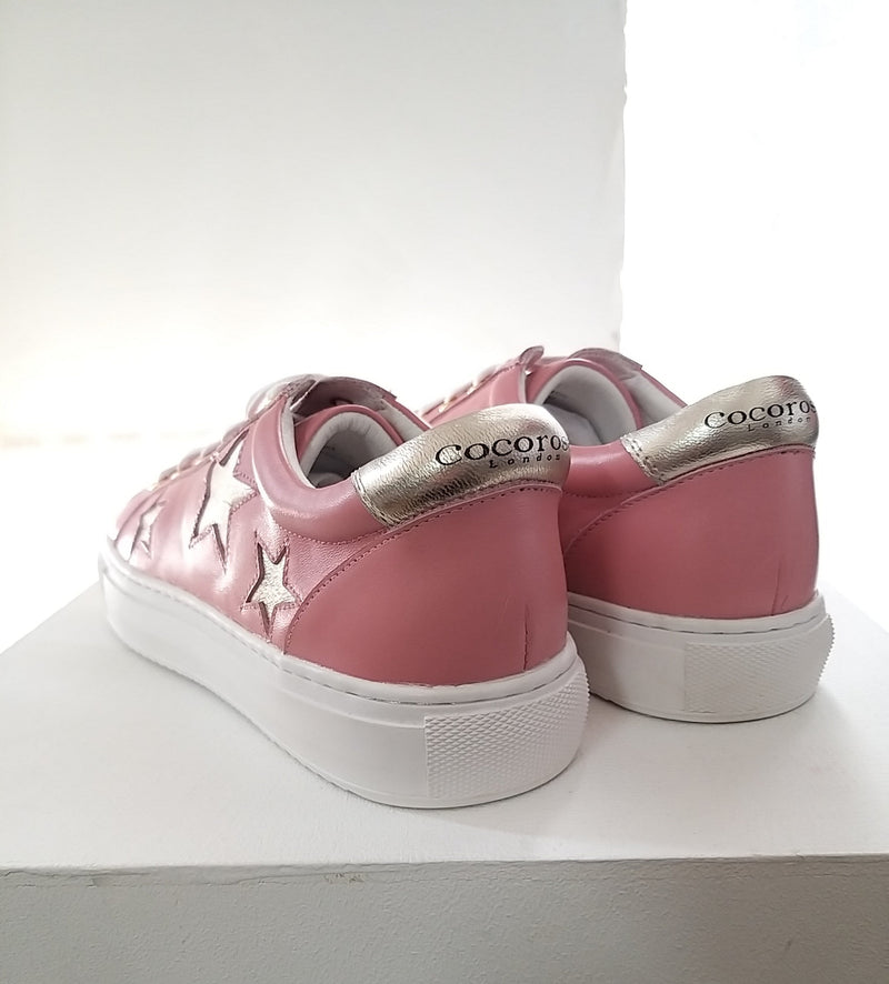 Fun and fashionable trainers | pink and gold star sneakers