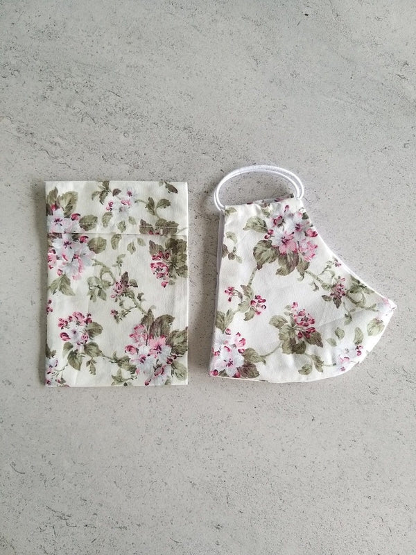 Cotton Face Mask with Filter Pocket and Matching Pouch - Floral Print Cream