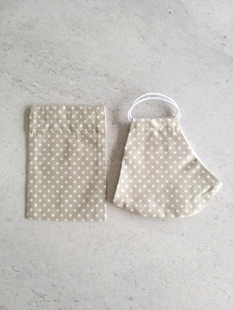 Cotton Face Mask with Filter Pocket and Matching Pouch - Beige Polka Dots