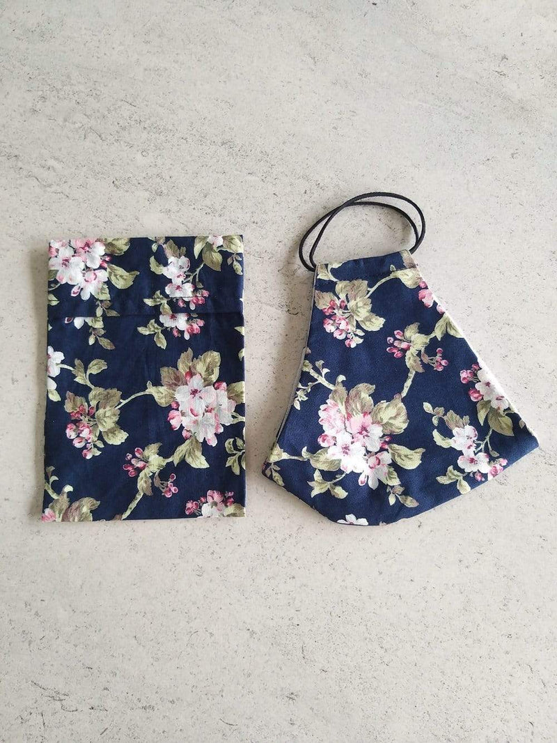 Non-medical cotton face mask with storage bag | navy with flowers