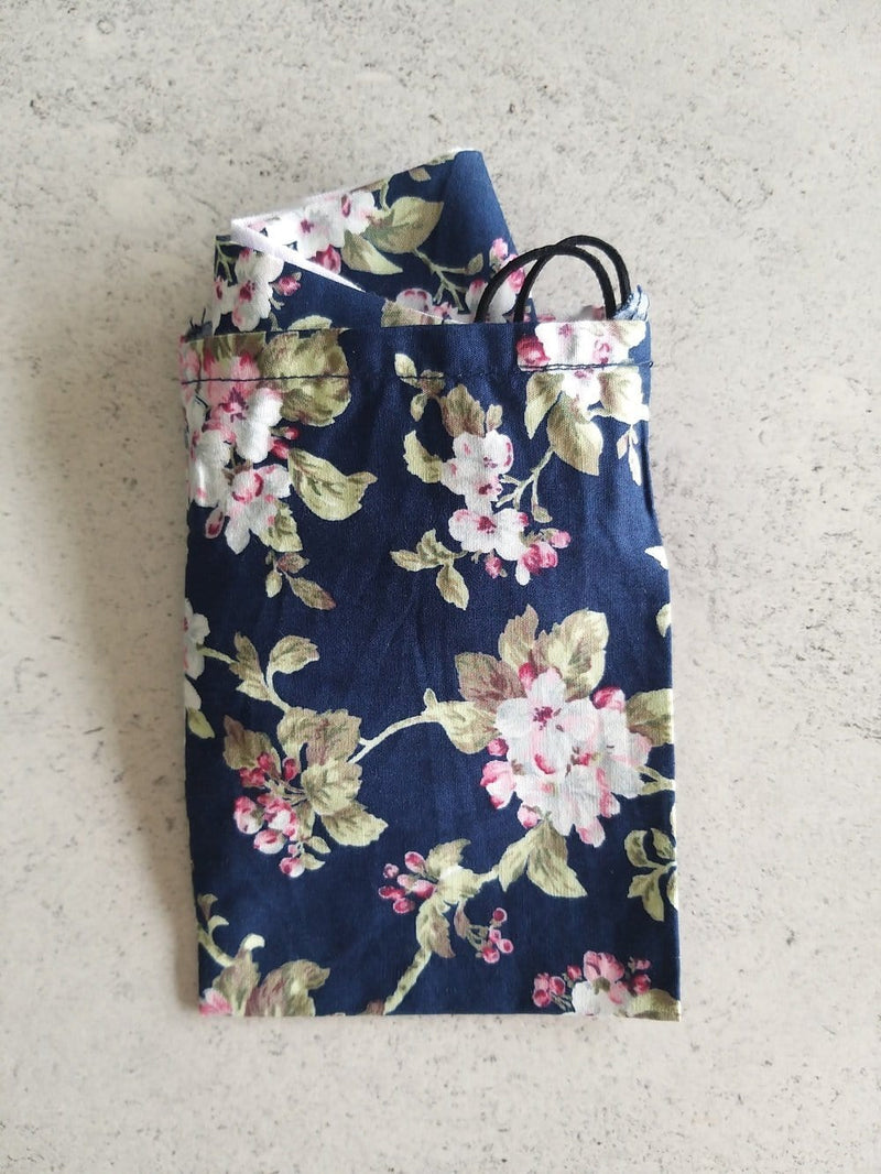 Non-medical face covering and mask with matching storage bag | navy with flower print | machine washable