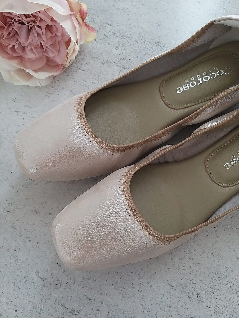 Shimmering oyster nude pink metallic leather ballet flats for special occasions